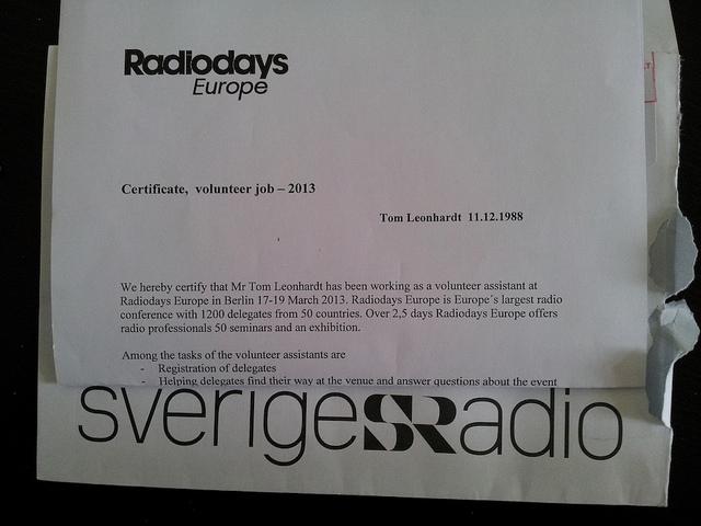 Bei den Radiodays Europe 2013 durfte ich als Freiwilliger helfen – und habe Robert Krulwich getroffen – und über eine Stunde mit ihm über sein Programm und Radiomachen gesprochen. :)